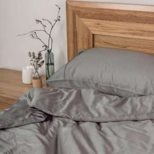 Organic Bamboo Quilt Cover Set - Charcoal