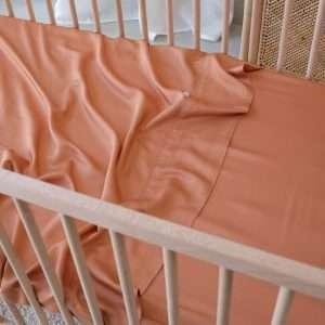 Organic Bamboo Cot Sheet Set Rust fitted sheet top sheet