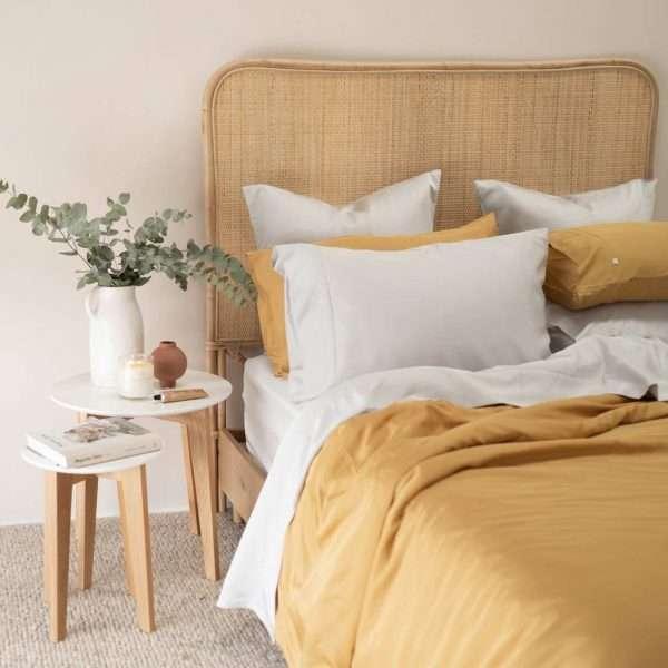 Organic Bamboo Quilt Cover Set Mustard