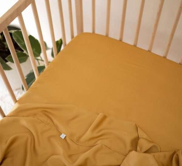 Organic Bamboo Cot Sheets Mustard fitted sheet top sheet