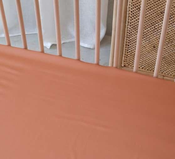 Bamboo Cot Sheet Set Fiited sheet top sheet Rust