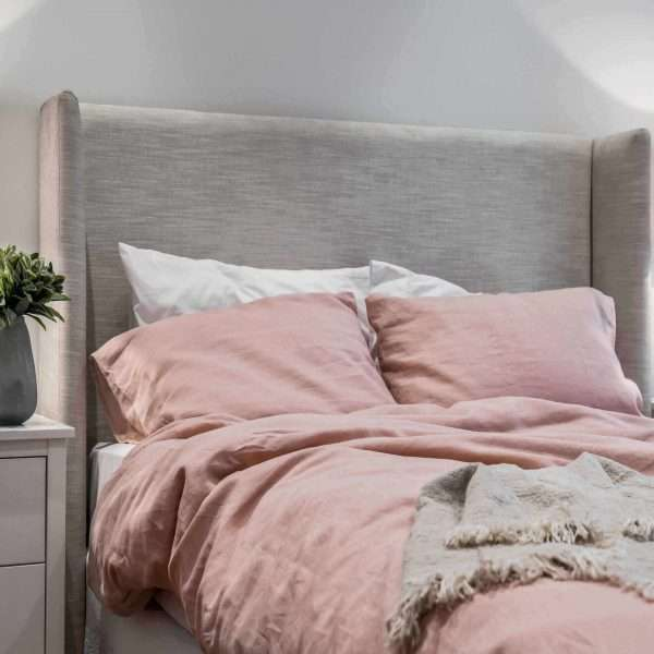French Linen Duvet Cover Set Dusty Pink