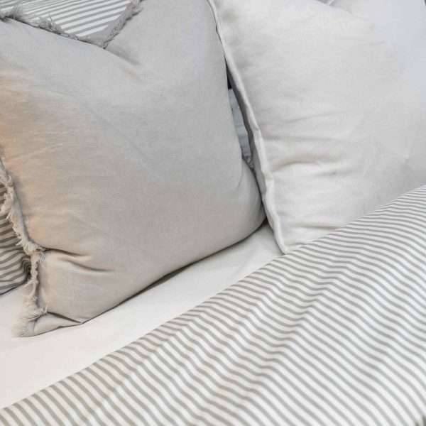 Bamboo Quilt Cover Set Dove Grey Stripe