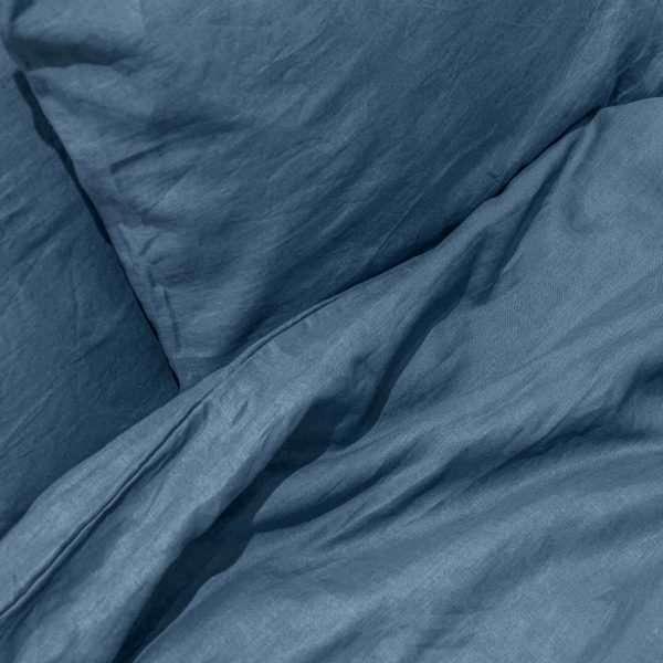 French Linen Duvet Cover Set Bluestone