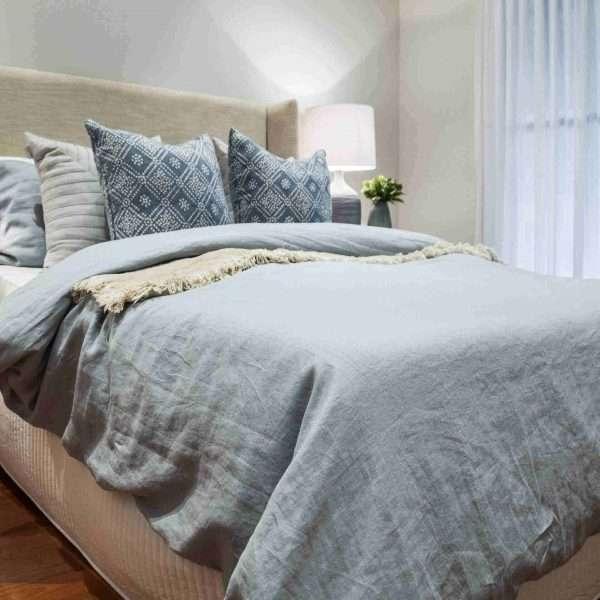 French Linen Duvet Cover Set Mineral Light Blue