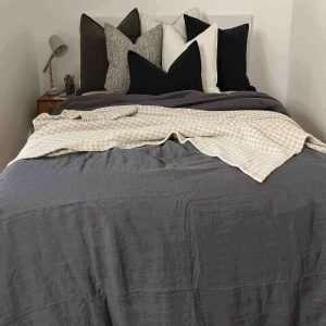 French Linen Duvet Cover Set Slate Dark Grey