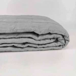 French Linen Quilted Bed Cover Blue Grey