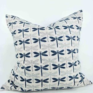 Japandi French Linen Cushion Teal Dragon Fly