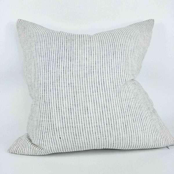 Lyon French Linen Cushion Striped Natural Grey