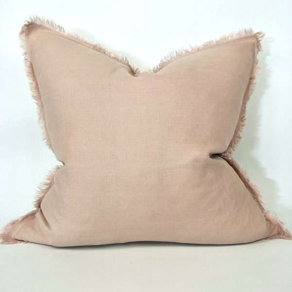 French Linen Cushion Feather Filled Fringed Edge Dusty Pink