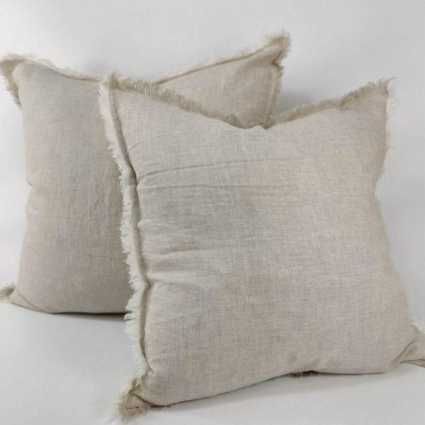 French Linen Cushion Feather Filled Fringed Edge Natural