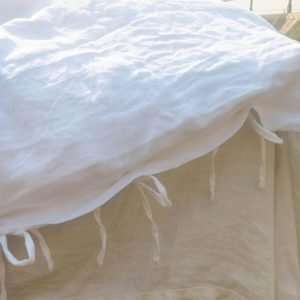 Linen Duvet Cover Set White with ties