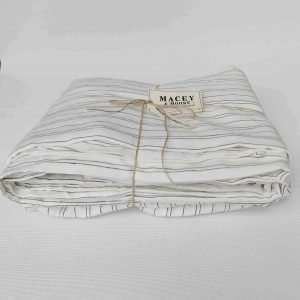 Pure French Linen Sheet Set Heavy Weight 200gsm Black and Warm White Stripe