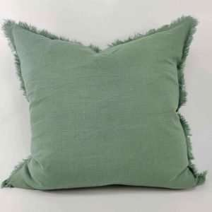 French Linen Cushion Feather Filled Fringed Edge Mint