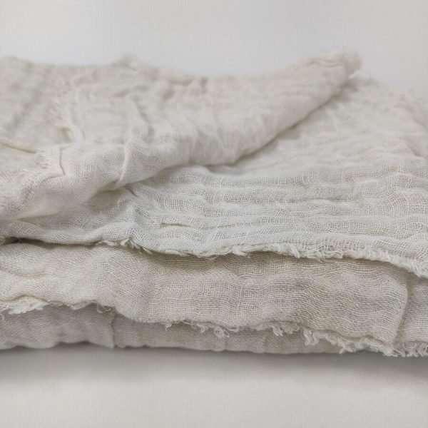 French Linen Throw Two Tone Gauze Warm White Natural