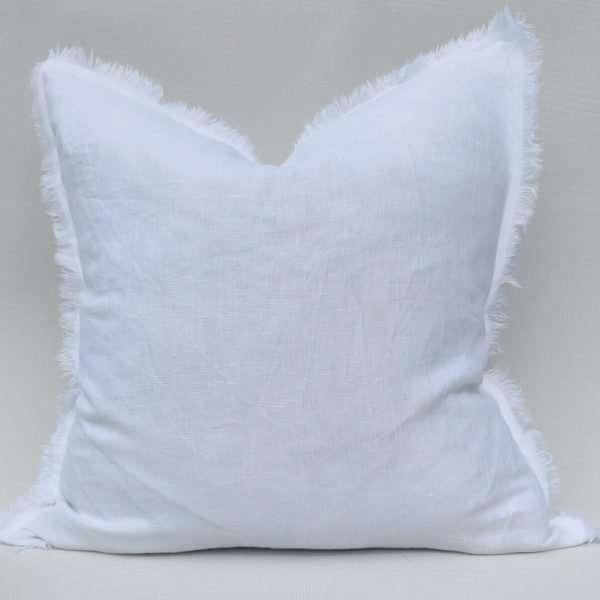French Linen Cushion Fringed Edge Snow White