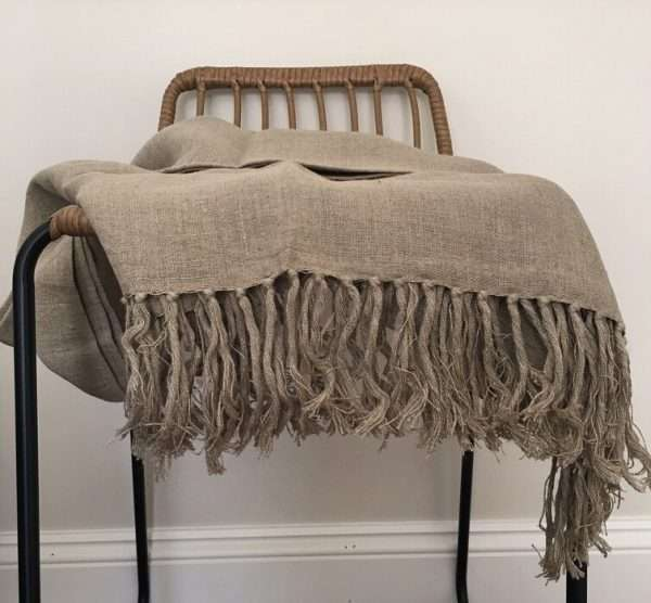 French Linen Throw Heavy Weight Knotted Fringe Flax