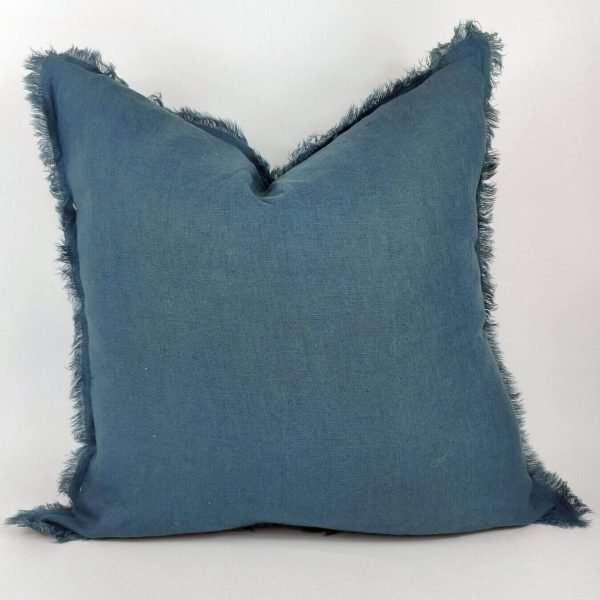 Pure French Linen Cushion Fringed Edge Bluestone