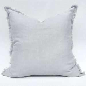 French Linen Fringed Cushion Light Grey
