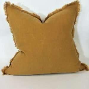 Pure French Linen Cushion Fringed Edge Cinnamon