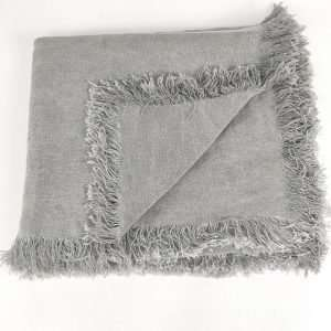 Matera French Linen Throw Blue Grey