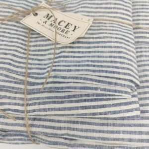 Nice Pure French Linen Yard Dyed Duvet Cover Set Blue & White Stripe
