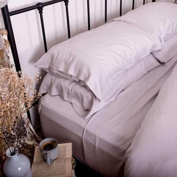 bamboo pillowcase set silver