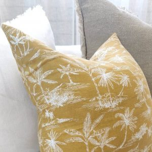 Palm Tree Pure French Linen Cushion