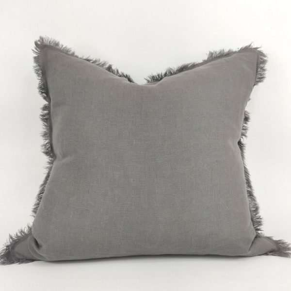 Pure French Linen Cushion Fringed Edge Feather Filled Charcoal Grey